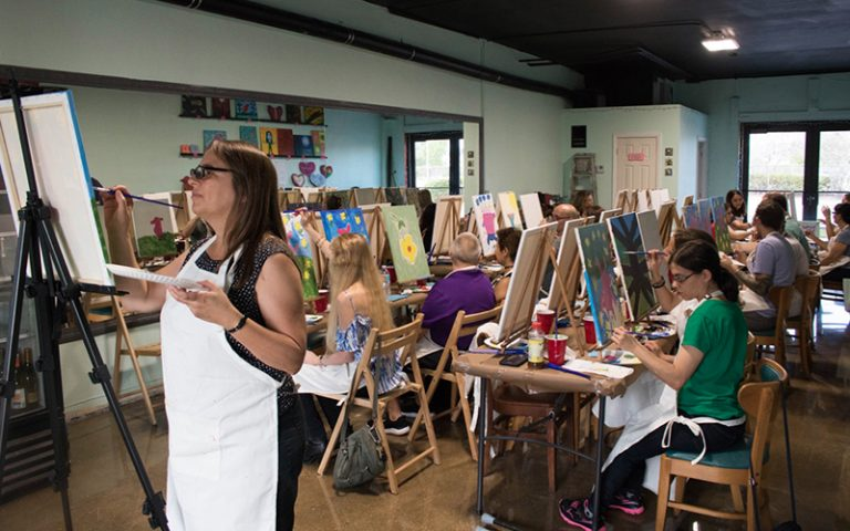 Vegan group participating in a art class